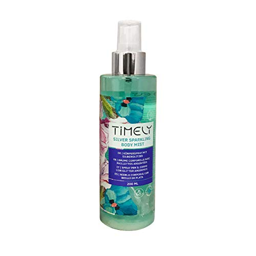 Timely Silver Sparkling Body Mist, spray per il corpo dalla fragranza sensuale, 200 ml