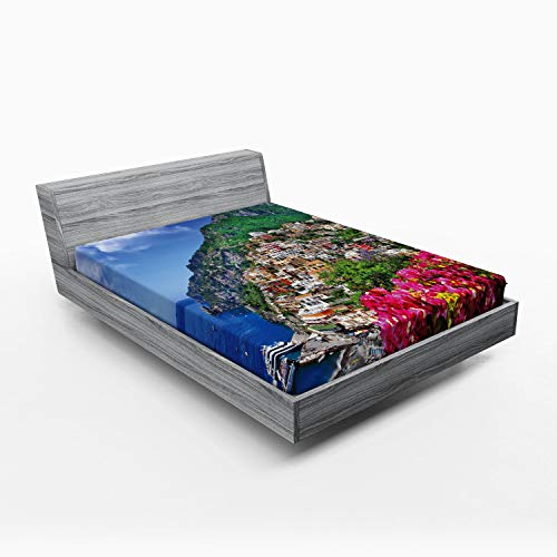 ABAKUHAUS Italy Fitted Sheet, Positano Amalfi Naples, Soft Decorative Fabric Bedding All-round Elastic Pocket, 150 x 190 cm, Pink Green Blue