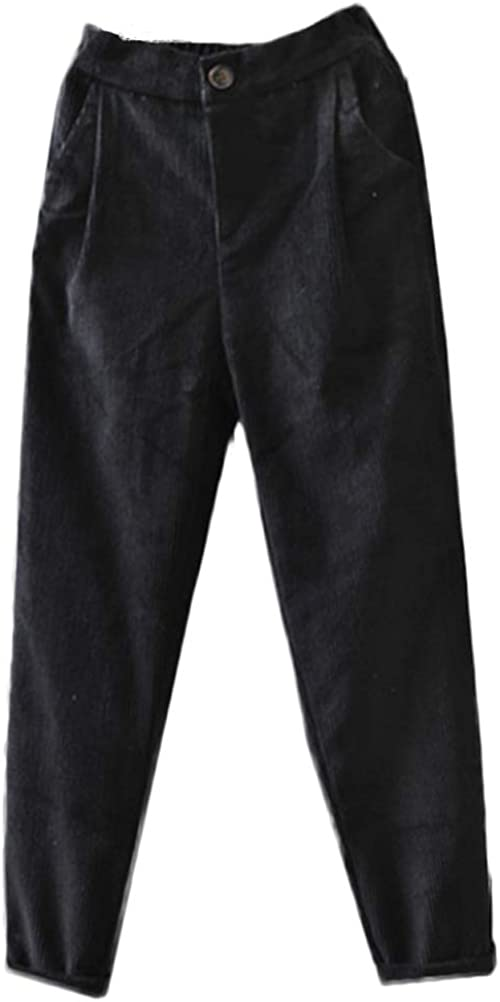 Mordenmiss Women's Cotton Cropped Pants Relaxed-fit Comfy Corduroy Tapered Trousers