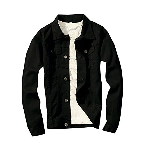 LifeHe Classic Denim Jacket Men Slim Fit Fashion Jeans Coat (S, Black)