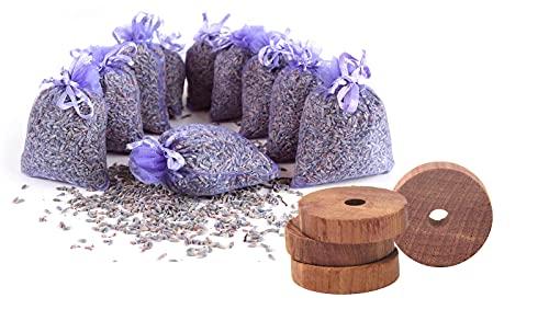 Quertee Set di protezione antitarme – 10 sacchetti di lavanda + 30 anelli in legno di cedro | Protezione antitarme per armadio | sacchetti profumati | Protezione antitarme in legno di cedro