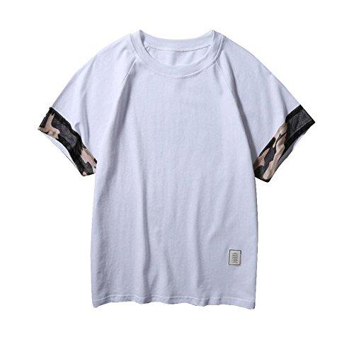 ❤VENMO Camisetas hombre originales,camisas hombre,deportivas hombre,polos hombre,hombres Slim Fit Camiseta de manga corta de Patchwork,Casual camiseta camuflaje Top Blusa (Blanco, M)