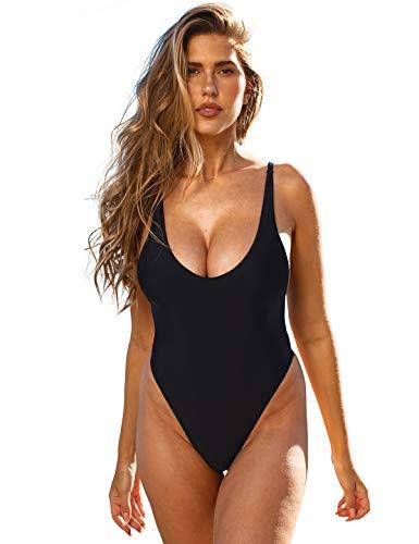 RELLECIGA Women's Black High Cut Scoop Back One Piece Swimsuit Size Medium