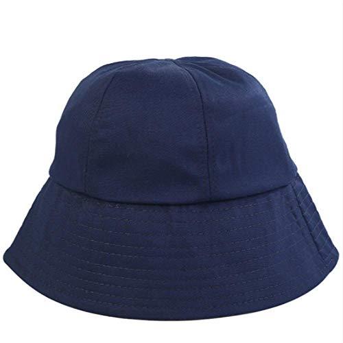 Bucket Hat Chapeau 6 Panle Dome Seau Chapeau Casquette en Coton Solide Hommes Chapeau Casual en Plein Air Randonnée Pêche Casquette Crème Solaire Femme Cap Plage Panama Adultize Marine