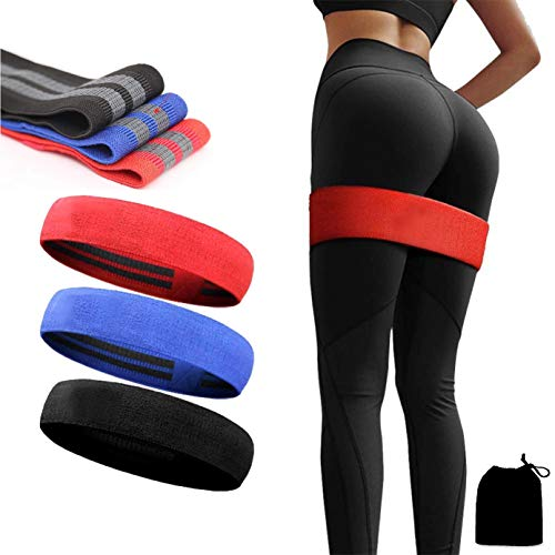 Slyk Non-Slip Fabric Resistance Band for Men and Women. Stretchable Resistance loop bands for Toning Booty Hip Glutes Thighs Squat Legs Yoga Pilates at Home, outdoors or gym Pack of 3 (Light +Medium + Heavy)