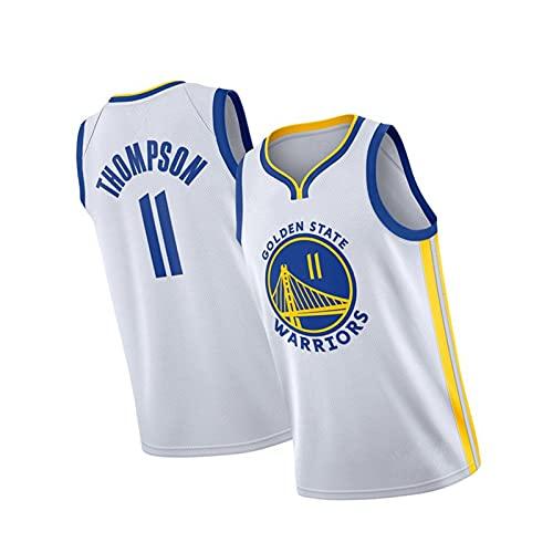 Camiseta de Baloncesto sin Mangas para Hombre Golden State Warriors # 11 Klay Thompson, Transpirable para Uso Diario y Entrenamiento White-S