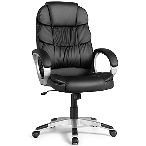 COSTWAY Ergonomic Office Chair, PU Leather High Back Desk Chair with Rocking Function, Adjustable Height, Padded Armrest, 360 Rotation Wheels, Executive Chair Ideal for Office, Home, Black