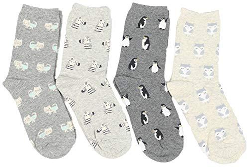 OLIPHEE Baumwolle Socken mit Tier Muster Cartoon Damensocken 4 Paare Mehrfarbig Grau