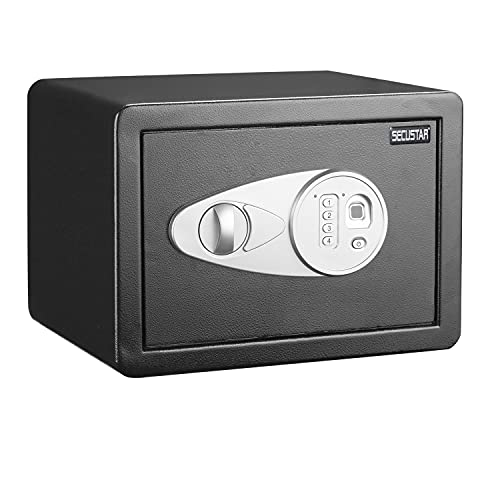 Extra Deep Home Office Safe Box Fits Legal Sized Documents,SECUSTAR SZYB280H4M Fingerprint Safe Box, Fast Access Biometric Safe for Home Office Laser cut door home safe box