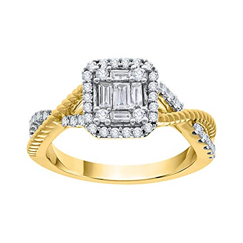 KATARINA Anillo de compromiso de diamantes de talla baguette y redonda en oro de 14 k (1/2 quilt, I-J, I1)