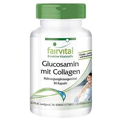 Fairvital - Glucosamine with Collagen - 400mg Glucosamine & 250mg Collagen per Capsule - 90 Capsules by fairvital