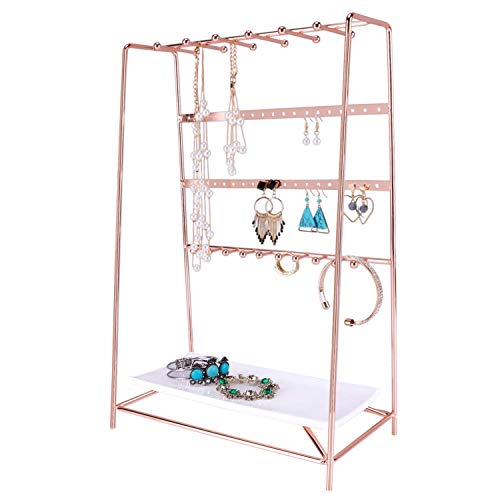 Simmer Stone Rose Gold Jewelry Stand, Desktop Jewelry Organizer with Tray, Size 10.2 x 5.5 x 15.7 …