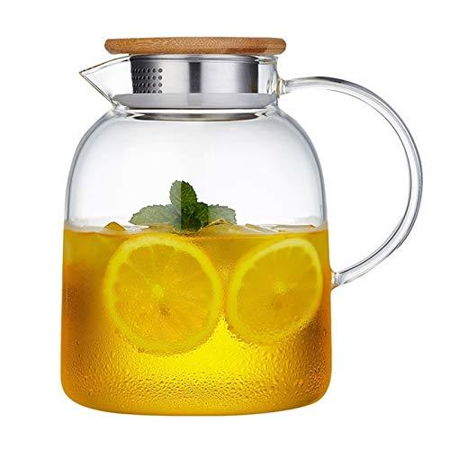 Jarras De Vidrio con Tapa Vidrio para Agua Transparente para Agua Fría, Ideal para Té Helado, Sangría, Limonada Y Más (Color : Clear, Size : 1600ml)