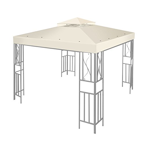 Flexzion 8'x8' Gazebo Top Canopy Replacement Cover (Ivory) - Dual Tier with Plain Edge Polyester UV30 Protection Water Resistant for Outdoor Garden Patio Lawn Sun Shade