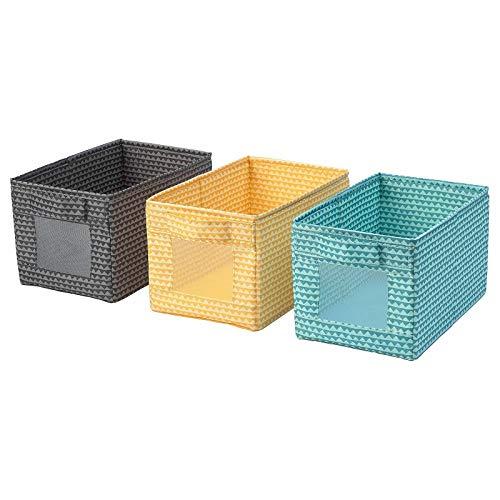 IKEA UPPRYMD - Caja de almacenamiento, hogar, escuela, oficina, color negro y amarillo turco, paquete de 3 en 1