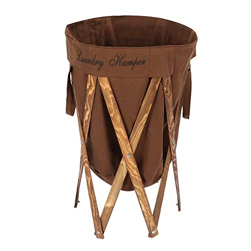 Opvouwbare grote wasmand, opvouwbare ronde wasmand voor vuile kleding met houten frame voor thuisgebruik, 27,6 inch hoogte x 15,7 inch diameter (bruin)