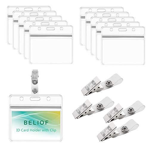 BELIOF 50 Stücke Metall Badge Clips mit 50 Pcs Kunststoff Ausweishülle Ausweishalter Clip mit Transparent Gürtel Gürtelclip Kartenhalter für Ausweis ID Karte Abzeichenhalter