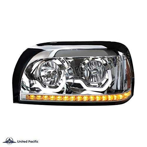United Pacific 31203 Freightliner Century Chrome Projection Headlight W/LED Turn Signal & Light Bar -Driver