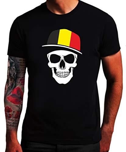 Belgien - T-Shirt - Skullz Fahne - Totenkopf Bel SC (XXL)