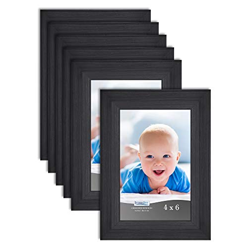 Icona Bay 4x6 Picture Frame (Obsidian Black Wood Finish, 6 Pack), Traditional Style Composite Wood Frame for Walls or Tables, Cherished Memories Collection