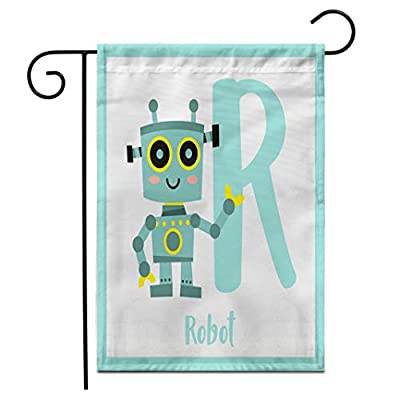 """Adowyee 12""""x 18"""" Garden Flag Cute Children ABC Alphabet R Letter Flashcard of Robot Outdoor Double Sided Decorative House Yard Flags"""