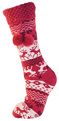 i-Smalls RJM Damen Frauen 1er Pack Renmuster Warme Lange Slipper Socken (36-38) Fuschia