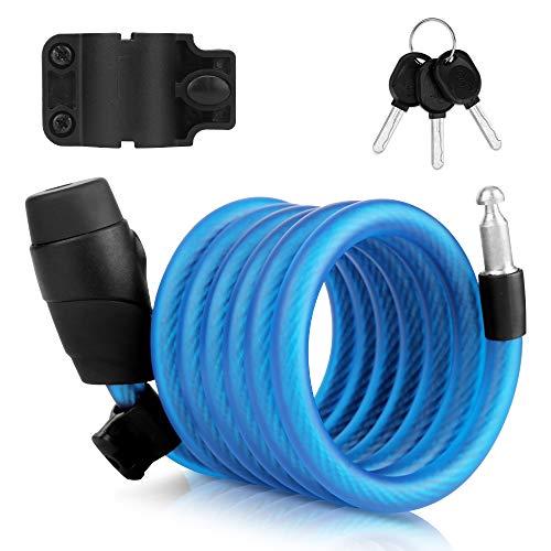 Candado de Bicicleta,180cm Bloqueo de la Bicicleta, Candado de Bicicleta con 2 Piezas de Llave, Candado Ligero de Cable en Espiral Bicicleta,para Bicicleta y Bicicleta de Montaña(Azul)