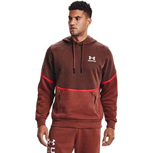 Under Armour Rival - Camiseta de Forro Polar para Hombre, Not Applicable, Rival Fleece Amp HD, Hombre, Color Cinna Red / Onyx Blanco (688), tamaño Medium