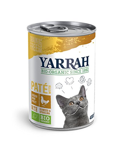 Yarrah Pate mit Huhn 400 g Bio Katzenfutter, 6er Pack (6 x 0.4 kg)
