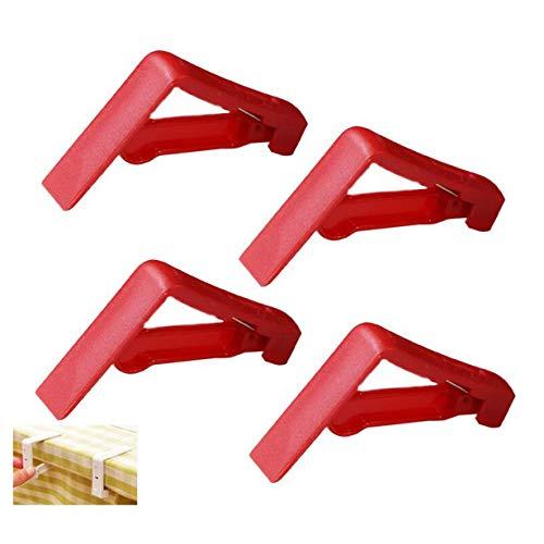 aufodara Plastik Tischdeckenklammer Tischtuchklammer für draußen Garten Picknicks Hochzeiten Partys Buffets Restaurant (4, Rot)