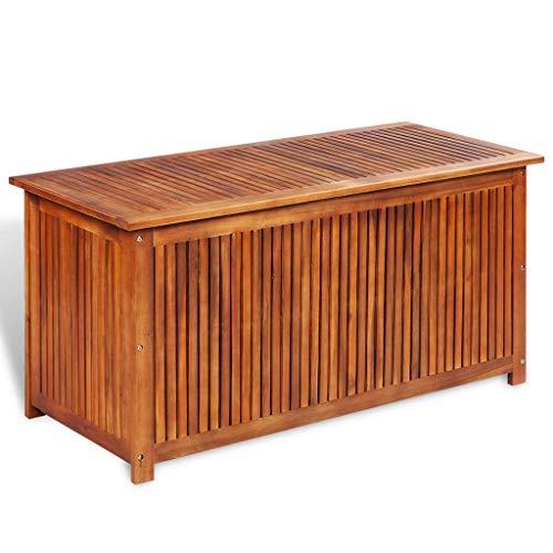 mewmewcat Auflagenbox Holz Gartenbox Groß Holztruhe Kissenbox Aufbewahrungsbox Garten Gartentruhe Truhenbank mit Stauraum Sitztruhe, 117x50x58 cm Massivholz Akazie