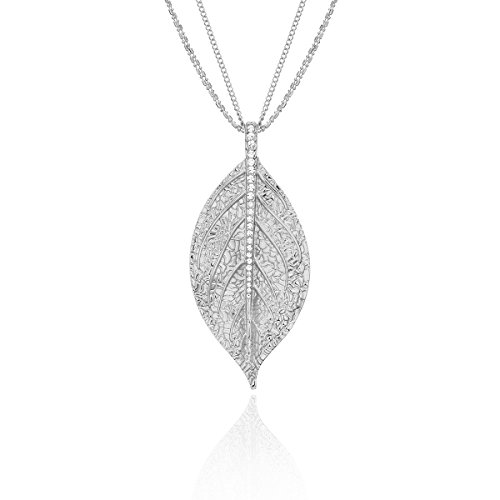 Ouran Long Necklace for Women,Leaf Pendant Necklace for Girls Gold and Silver Chain Necklace with CZ Crystal Multilayer Necklace (Silver Plated)