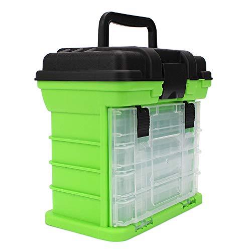 Lixada Draagbare hengelbox met 4 hengelboxen grote inhoud, watervaste visuitrusting opbergschalen met veilige vergrendelingen, afneembare scheidingswanden voor zoet water en zout water