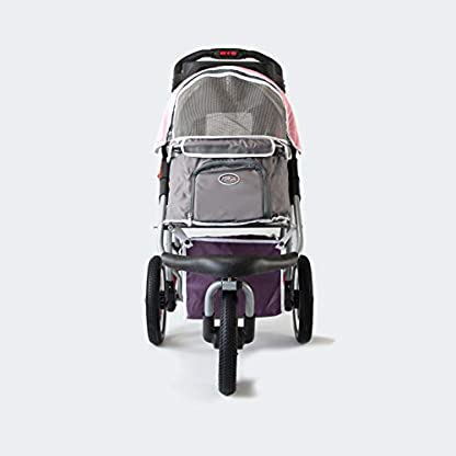 Pet Stroller,IPS-040,Grey/Pink/Lila, dog carrier, trolley, Trailer, Innopet, Buggy Comfort with Airfilled Tyres. Foldable pet buggy, pushchair, pram for dogs and cats 2