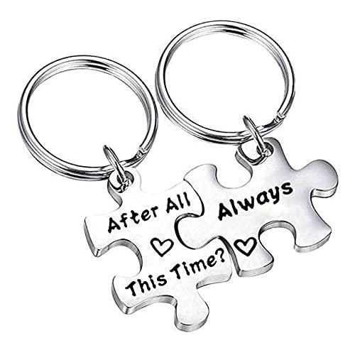 """Set di portachiavi a forma di puzzle con scritta """"After All This Time Always Couples"""" per matrimonio, San Valentino, regalo di amicizia e Acciaio inossidabile, colore: Puzzle d'argento."""