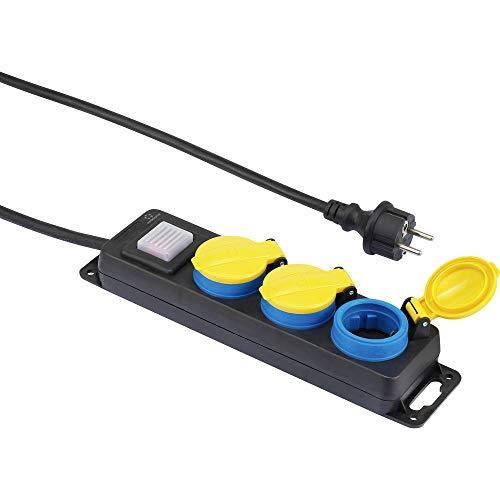 Renkforce 350E-CMB stekkerdoos met schakelaar 3-voudig zwart, geel, blauw geaard