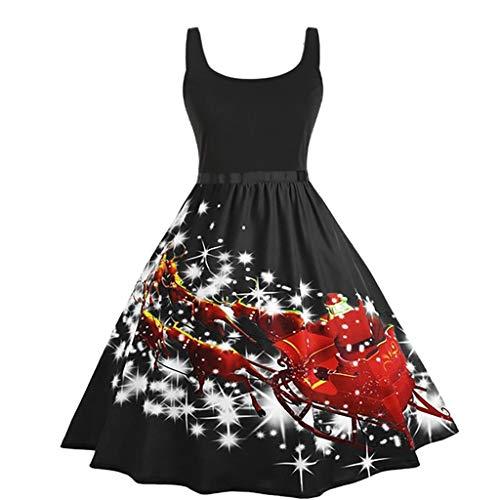 Weihnachtskleid Damen-Weinlese-Sleeveless Weihnachtsdruck-Hausfrau-Abend-Partei-Abschlussball-Abendkleid Swing Kleid