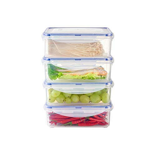 KSLE 4 Pack Plastic Food Storage Containers with Lids 48 Cup BPA Free Stackable Vegetable and Fruit Storage Containers for Fridge Meal Prep Container Refrigerator Containers for Cheese Meat and Fish