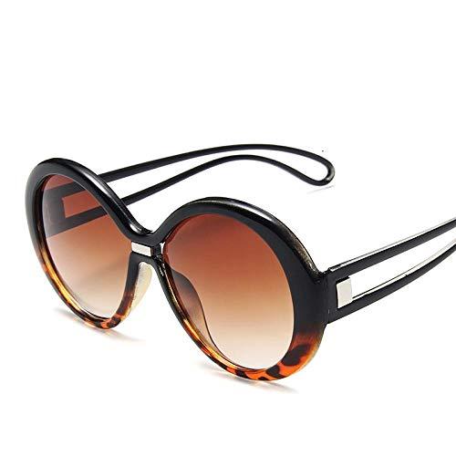 HAOMAO Gafas de Sol Redondas de Gran tamaño para Hombre y Mujer, Gafas de Montura Grande con Degradado, Gafas Uv400 Blackleopard