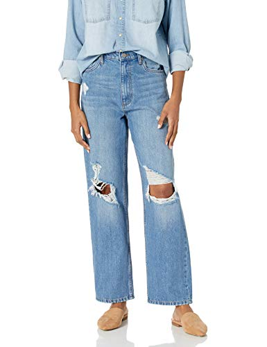 The Drop Women's Annalise Distressed Loose-Fit Straight Leg Jean