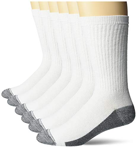 Hanes Ultimate Men's 6-Pack Ultra Cushion FreshIQ Odor Control with Wicking Crew Socks, White
