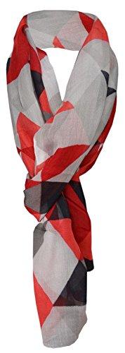 TigerTie Schal in rot weinrot schwarz grau anthrazit gemustert - 100% Modal - 180 x 70 cm