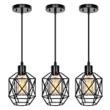 Industrial Pendant Lighting 3 Pack, Adjustable Hanging Light Fixtures with Geometric Metal Shade and Black Finish, Farmhouse Pendant Light with E26 Base for Kitchen Island, Living Room, Bar, Hallway