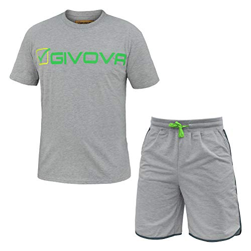 IAC Completo Uomo GIVOVA T-Shirt e Pantaloncino Cotone Art.G301 (Grigio Melange - XL / 52)