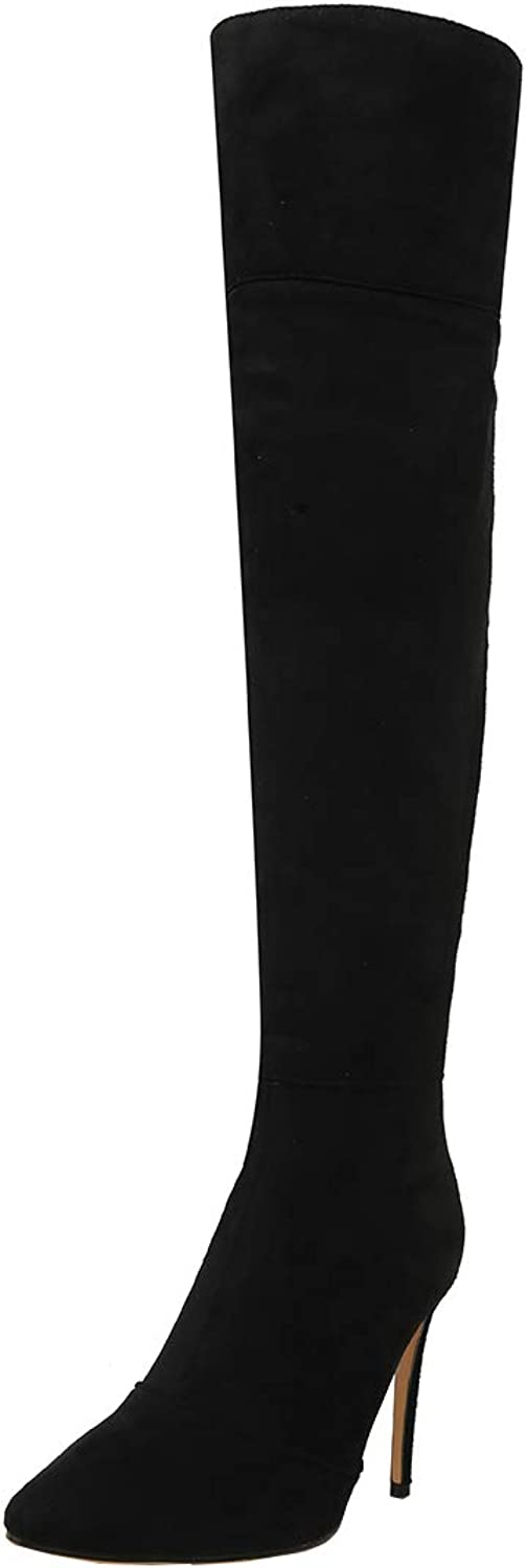 Vitalo Womens Pointed Toe Over The Knee Stiletto Thigh High Heel Boots Zipper