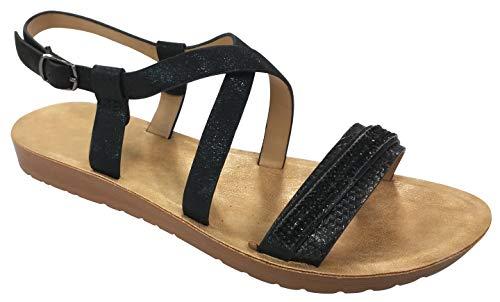 TravelNut Best Zandalias Woman Comfortable Glitter Shiny Beach Pool Flat Heels Thin Strap Maternity Easter Dress Shoes Sandals 2020 for Women Teen Girls Ladies (Black Size 7.5)