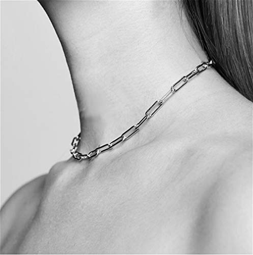 Cathercing Women Choker Necklace Chain Thin Link Necklace for Women Trendy Jewelry Necklaces Chains Punk (silver)