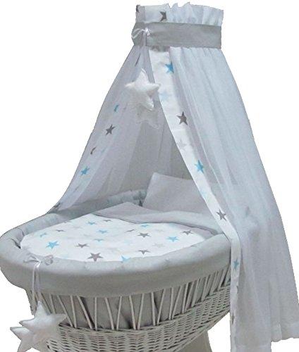 Babymajawelt® Ersatz Bett Set für Stubenwagen - 7 Teile, Bettwäsche, Nestchen, Himmel, Steppbett, Spannbetttuch (ohne Stubenwagen) (BIG Stars blau)