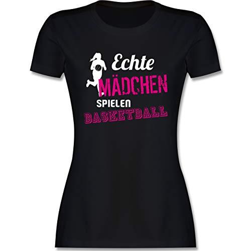 Basketball - Echte Mädchen Spielen Basketball - L - Schwarz - mädchen Basketball Trikot - L191 - Tailliertes Tshirt für Damen und Frauen T-Shirt