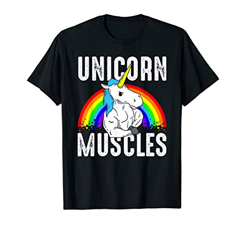 Unicorn Muscles Body Building Lustiges Gym T-Shirt Fitness